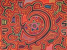 """ON HOLD for Mette 1960s Master Mola """"Star in the Galaxy"""" from the Cuna Indians of the San Blas Islands, Panama"""