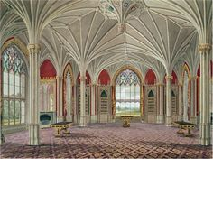 The Library at Eaton Hall. Interior Sketch, Interior Paint, Eaton Hall, Victorian Hall, Gothic Interior, Georgian Interiors, English Castles, English Manor, Red Rooms