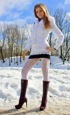 """""""I ❤️ her tight mini skirt and long boots, she has long sexy legs💋💋💋💋 """"White snow byWe love all things tights and pantyhose!Boots Are Divinebollywood actress hot wallpapers – My Favorite Wallpaper Fashion Tights, Tights Outfit, Fashion Moda, Girl Fashion, Womens Fashion, Sexy Outfits, Cute Outfits, Fashion Outfits, Thigh High Leggings"""