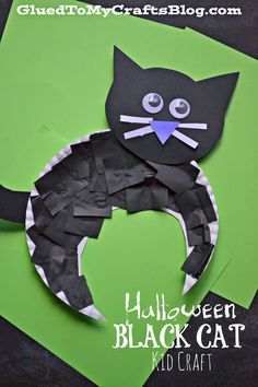 Halloween Cat Crafts, Halloween Art Projects, Halloween Crafts For Toddlers, Theme Halloween, Halloween Crafts For Kids, Halloween Activities, Toddler Crafts, Kids Crafts, Halloween Decorations