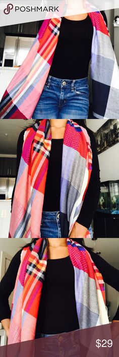 """Abercrombie & Fitch Blanket Plaid Scarf Abercrombie & Fitch Scarf that can be worn as a traditional scarf around your neck or draped over your shoulders as a poncho. Dimensions: 73"""" L x 29"""" W Abercrombie & Fitch Accessories Scarves & Wraps"""