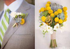 santa barbara wedding, billy ball bouquet, succulent bouquet, yellow wedding bouquet