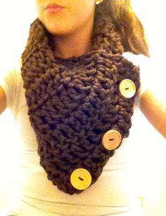 Three button double crochet scarf! Available on etsy.com/people/julianiehl now!!