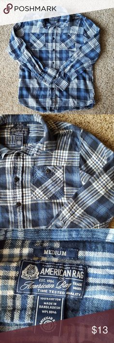 American Rad Blue Plaid Button Up Good condition  No visible flaws American Rag Shirts Casual Button Down Shirts