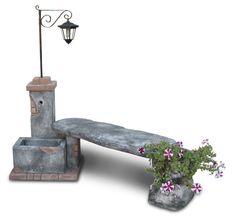Fontana da giardino fonte del casale con panchina e lanterna solare, antichizzata. E' l'ideale per creare un piccolo angolo romantico.