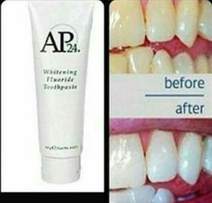 Just love this natural toothpaste that removes stains and whitens your teeth without peroxide or harmful abrasives! Ap 24 Whitening Toothpaste, Natural Toothpaste, Nu Skin, Stronger Teeth, White Teeth, Just Love, Stains, Personal Care, Skin Care