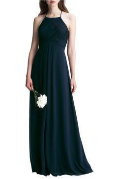 Main Image - #Levkoff Halter Chiffon A-Line Gown