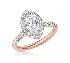 Marquise Cut Engagement Ring with Halo in Rose Gold