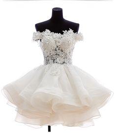 Cute off shoulder white short prom dress, #cutepromdress, #cutehomecomingdress