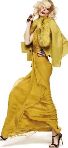 Roberto Cavalli ~ yellow frockage