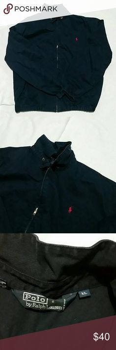 """Mens Polo Jacket Mens casual full zip jacket. Is Navy blue with red Polo symbol. Does have a little fade to it. Not much just some as seen in pic.26""""armpit to armpit.  20""""-21"""" armpit to end of sleeve. Polo by Ralph Lauren Jackets & Coats Lightweight & Shirt Jackets"""