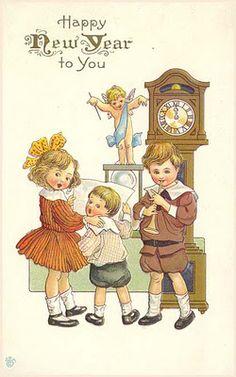 children with grandfather clock