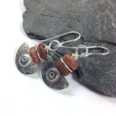 Bauxite and silver Ulu blade earrings by DeborahJonesJewelry