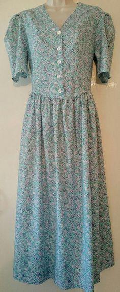 ORIGINAL 80's Dress Vintage Blue floral Laura by FlorenceLace