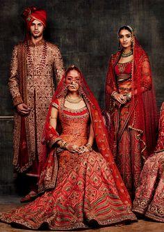 Arsenic in the shell — Tarun Tahiliani Bridal & Occasion Wear 2016 by. Indian Bridal Wear, Indian Wedding Outfits, Bridal Outfits, Indian Wear, Indian Outfits, Eid Outfits, Red Wedding, India Fashion, Asian Fashion