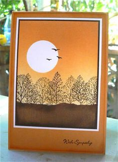 sunset scene card featuring Lovely as a Tree....like the Autumn colors and the birds against the sun...