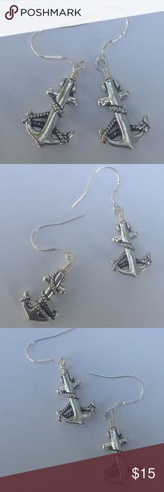 Anchor Earrings Nautical anchor earrings. Detailed antique silver anchor with sterling silver hooks. Please check out my other items in my closet for a bundle discount. PRICE FIRM UNLESS BUNDLED. Cindylou's Design Jewelry Earrings