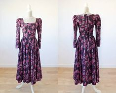 Rare vintage prairie dress XS with puff sleeves and geometric print purple and pink edwardian Laura Ashley style tea dress dress. by MaletaVintageClothes Vestidos Vintage, Vintage Dresses, Vintage Outfits, Vintage Fashion, Vintage Clothing, Laura Ashley Inspiration, Puff Sleeves, Sustainable Clothing, Handmade Dresses
