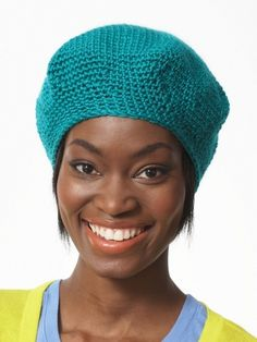 Free Pattern - This quick #crochet beret crochets quickly in any stunning shade of Bernat Satin or Bernat Satin Sparkle!