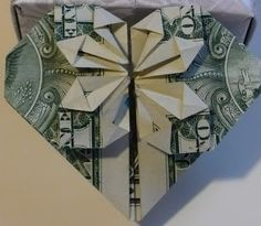 Money origami. Tiny flower petal folds can be flat or puffed up. You can also slide a coin or other object under the folds that point to the center of the heart. Let's create: Origami Dollar Bill Hearts