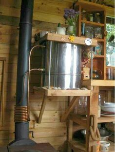 Wood stove waterheater