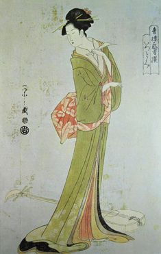 'The Courtesan Itsutomi holding a plectrum', Chobunsai Eishi, 1800s