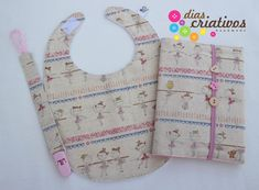 Conjunto Bebe Bailarinas / Baby Set (Baby Bib+Documents Bag + Pacifier holder)
