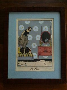 A nice handcolered print signed by Tito...La Peur..From the 30's.... #ArtDeco