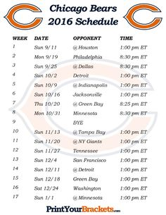 Printable Chicago Bears Schedule - 2016 Football Season