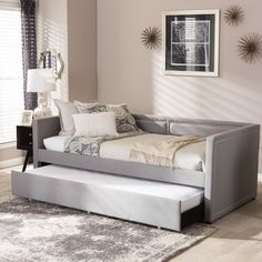 Baxton Studio Sofia Modern Contemporary Beige or Grey Fabric Nailheads Trimmed Sofa Twin Daybed with Roll-out Trundle Guest Bed Contemporary Fabric, Contemporary Home Decor, Twin Daybed With Trundle, Upholstered Sofa, Sofa Daybed, Sofa Seats, Fabric Sofa, Grey Fabric, Linen Fabric