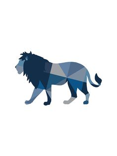 SALE Blue Lion Print Navy Lion Art Geometric by paperpixelprints