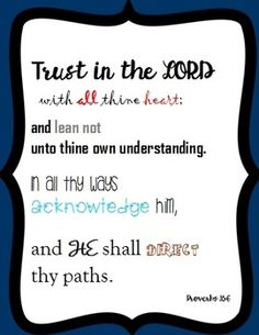 Trust in the Lord!Print on a card or for a poster!