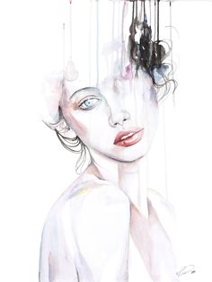 Metamorphosing - contemporary watercolor portrait art by defectivebarbie