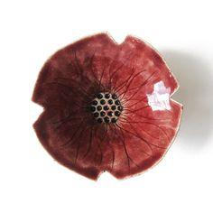 Red poppy flower bowl