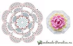 ergahandmade: Crochet Pillow and Doily + Diagram Crochet Coaster Pattern, Crochet Flower Patterns, Crochet Diagram, Crochet Chart, Crochet Motif, Irish Crochet, Crochet Flowers, Crochet Stitches, Diy Crochet Granny Square