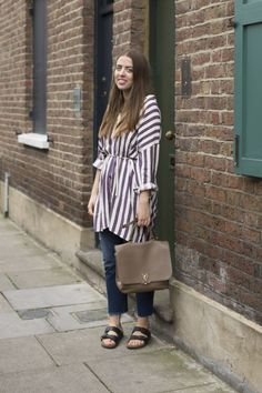 Chloe Macdonnell Fashion and Features Writer at LFW SS17  Topshop shirt dress Levi's jeans Birkenstocks shoes Louis Vuitton bag.