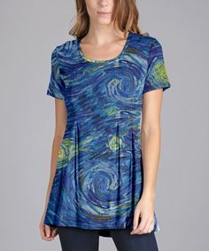 This Blue & Yellow Swirl Scoop Neck Tunic - Plus Too is perfect! #zulilyfinds