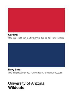 Arizona Wildcats Pantone Poster - U of A - University of Arizona Wildcat - Print, Boyfriend Gift, Wall Art, Husband Gift - Red And Blue