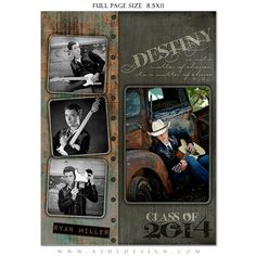 SENIOR Yearbook Ad Sets for Photographers - URBAN BLADE - (3) Photoshop Templates - Full page, Half page & Quarter Page Designs