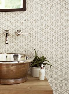 Palazzo tiles, Aphrodite Kythera basin, Reclaimed Teak washbench and Bastide tap http://www.firedearth.com/tiles/range/palazzo/mode/grid