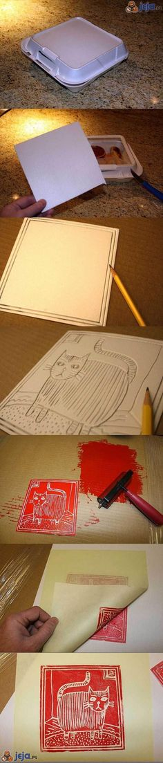 Linocut made from styrofoam! Drawn in with a normal pencil! Damn cool.