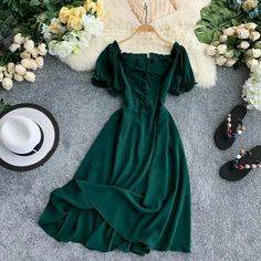Aug 2019 - Buy Lucuna Off Shoulder Short-Sleeve Midi A-line Dress Mode Outfits, Dress Outfits, Casual Dresses, Casual Outfits, Fall Dresses, Long Dresses, A Line Dresses, Dresses Dresses, Formal Dresses