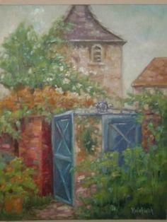 Blue French Gate. Oil framed