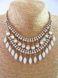Milk Glass Bib Necklace White Dangles Gold Tone by RenaissanceFair