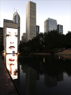 "Chris Jones: ""Digital display in water pool in Chicago."""