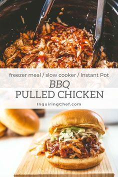Sitting down to a meal of BBQ Pulled Chicken any time of year is to embrace the taste of summer. Make this weeknight-friendly meal in the slow-cooker or Instant Pot. Makes a great dish for pot-lucks, summer dinners, and is freezer-friendly too! Pulled Chicken Recipes, Chicken Freezer Meals, Slow Cooker Freezer Meals, Slow Cooker Bbq, Easy Freezer Meals, Pressure Cooker Recipes, Crockpot Bbq Chicken, Bbq Meals, Instant Pot