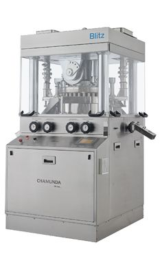 Chamunda Pharma Machinery Pvt. Ltd. specializes in the manufacture of BLITZ machine in India. This is a unique rotary press machine which is widely used as a compression machine for tablets. BLITZ machine is used as a tablet press machine in the pharmaceutical sector to manufacture tablets of uniform sizes and weight.
