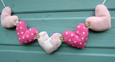 Fabric Heart Garland- Pink polka dots on Etsy, $10.00