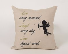 Live Laugh Love Cupid Cotton Throw Pillow Cover  16x16 by Daneeyo