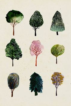 Tree Watercolor Illustrations- when I have time ! Do with pen and ink combine